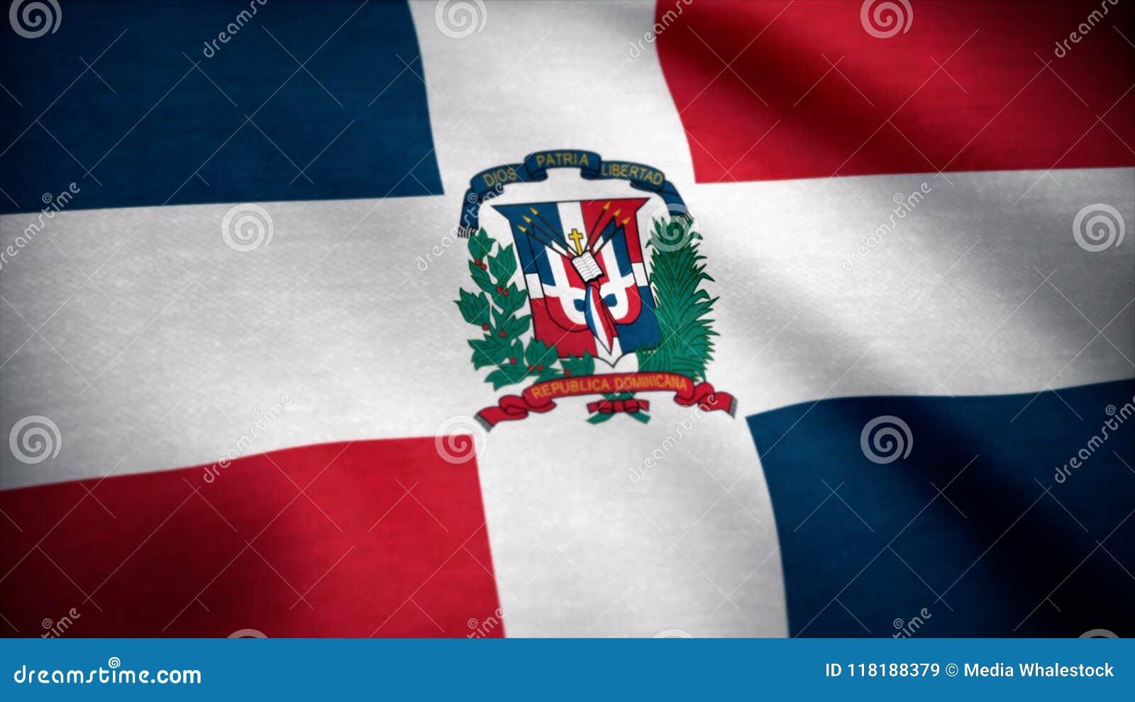Dominikansk flaggarepublik Flagga av Dominikanska republiken som vinkar på vind