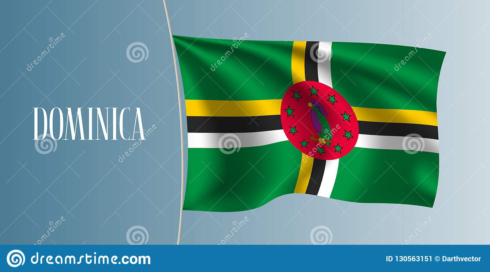 Dominikisk vinkande flaggavektorillustration Iconic designbeståndsdel