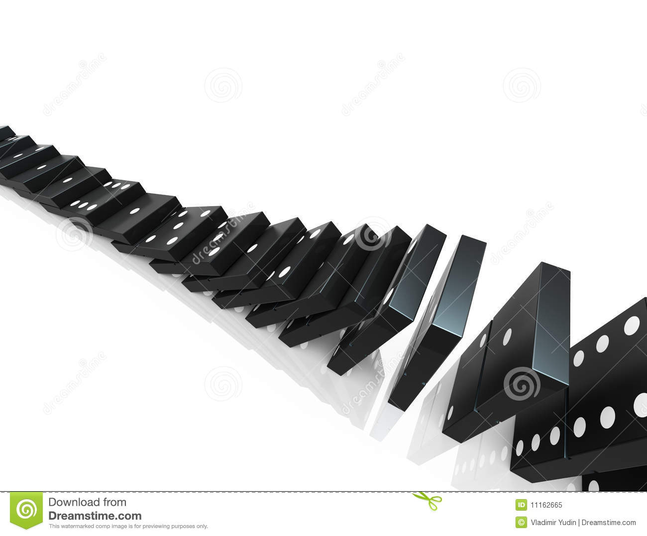 An isolated black domino blocks chain reaction on white background Domino Chain Reaction