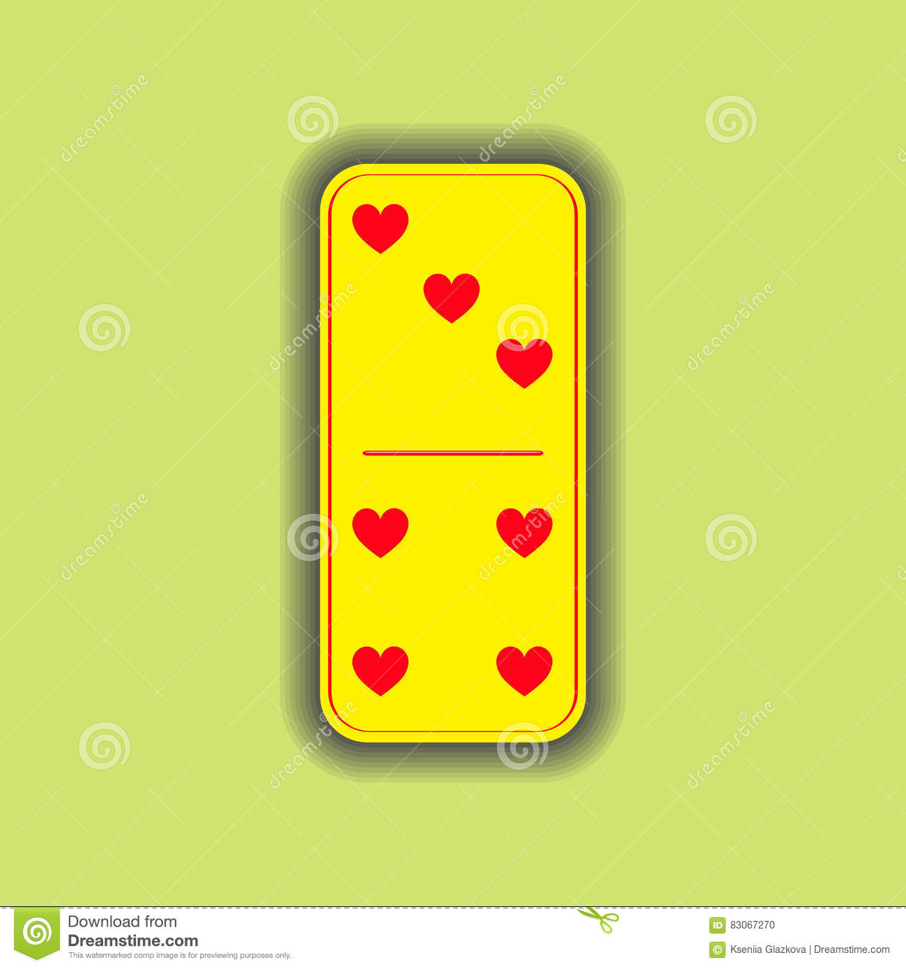 Domino Heart  Three And Four On The Isolated Background Stock