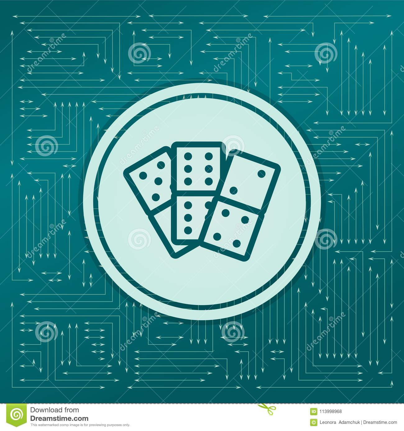 Domino icon on a green background, with arrows in different directions. It appears on the electronic board.