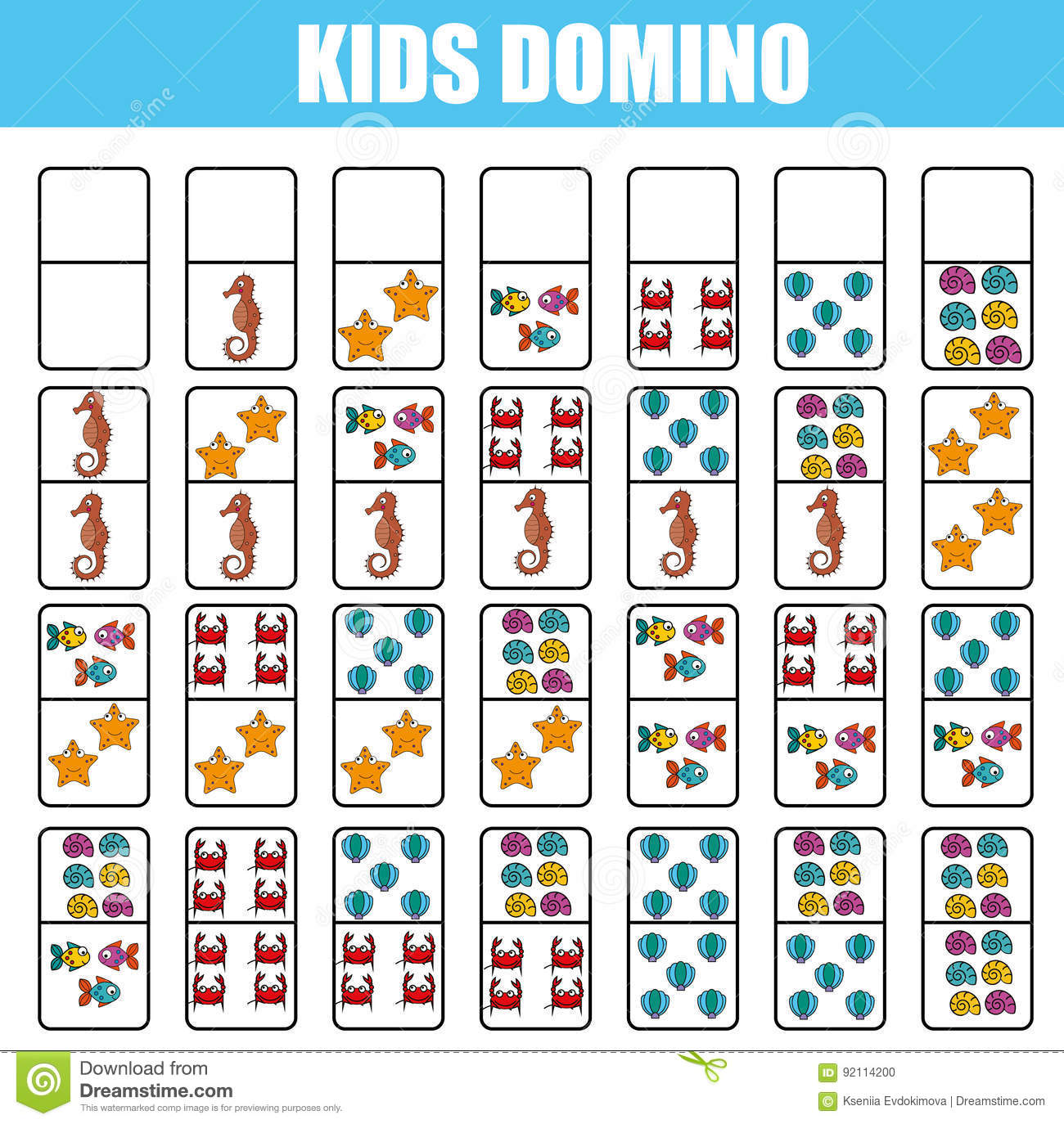 picture regarding Board Game Printable called Domino For Children. Youngsters Instructive Activity. Printable