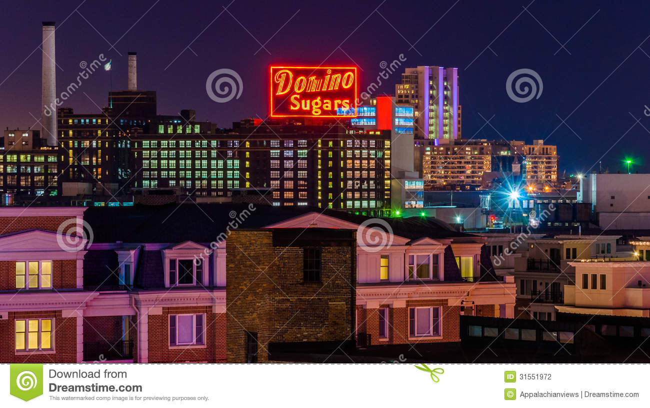 Domino Sugars Factory at night from Federal Hill, Baltimore, Maryland