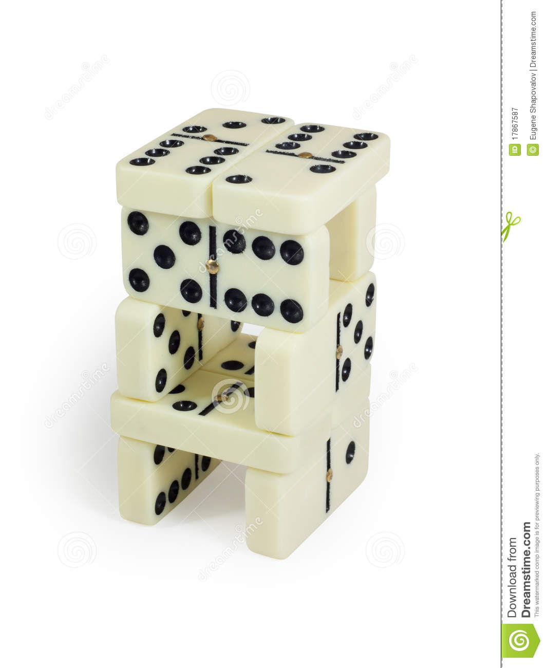 Domino tower. Isolated on white background with clipping path.
