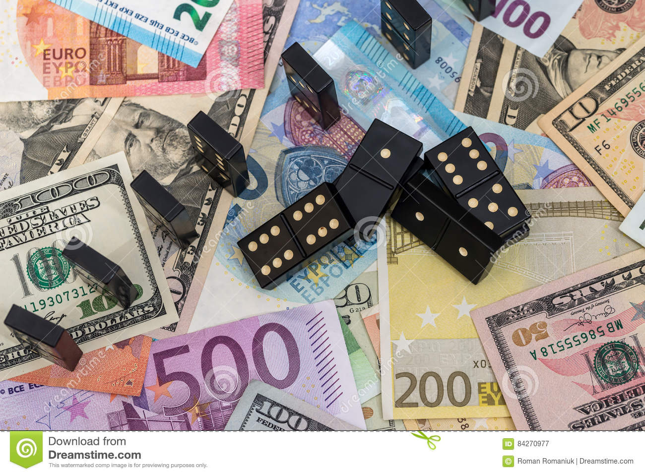 Dominoes On Euro And Dollar Stock Image Image Of Effect