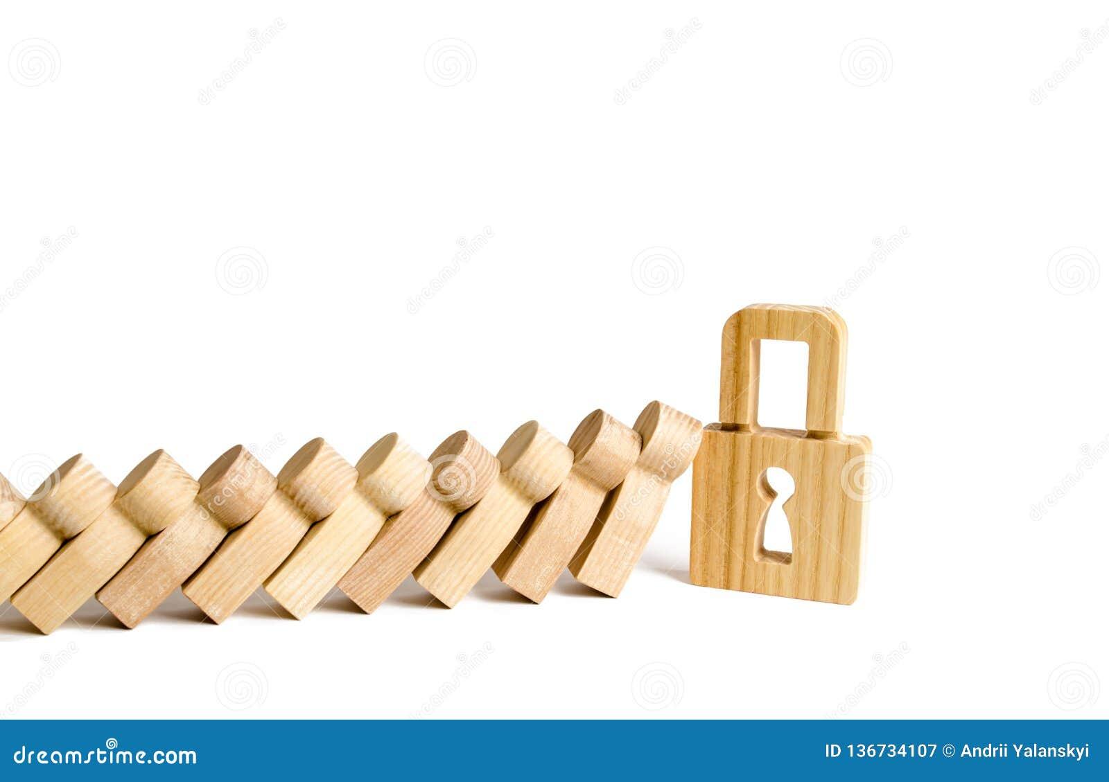 Dominos en baisse ou personnes d arrêts de cadenas Le concept de la conformité aux lois et aux normes sociales, évitant la paniqu