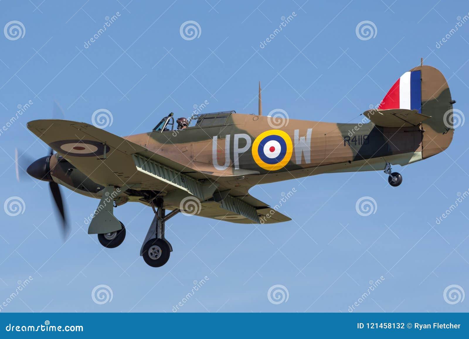 1940 domokrążca Huragan Mk 1 R4118 G-HUPW A Royal Air Force RAF poprzedni samolot i bitwa Brytania ocalały