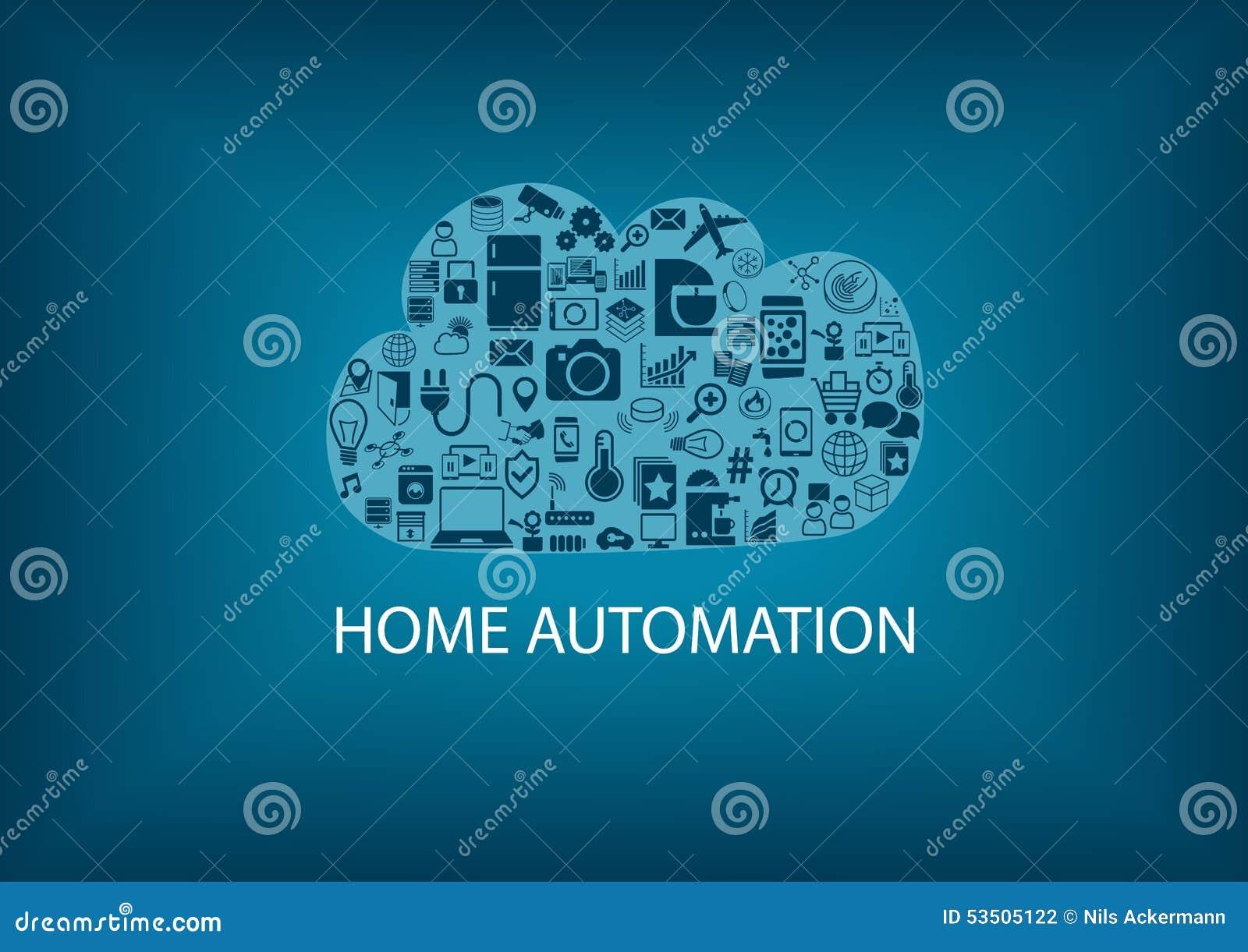 Domowa automatyzacja w chmurze Zarządzania informacją tło jako ilustracja