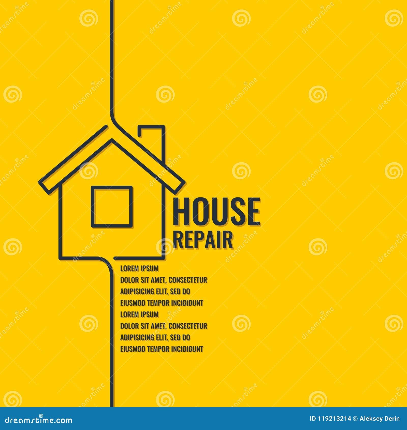 Domowa naprawa Oryginalny plakat w płaskim liniowym stylu