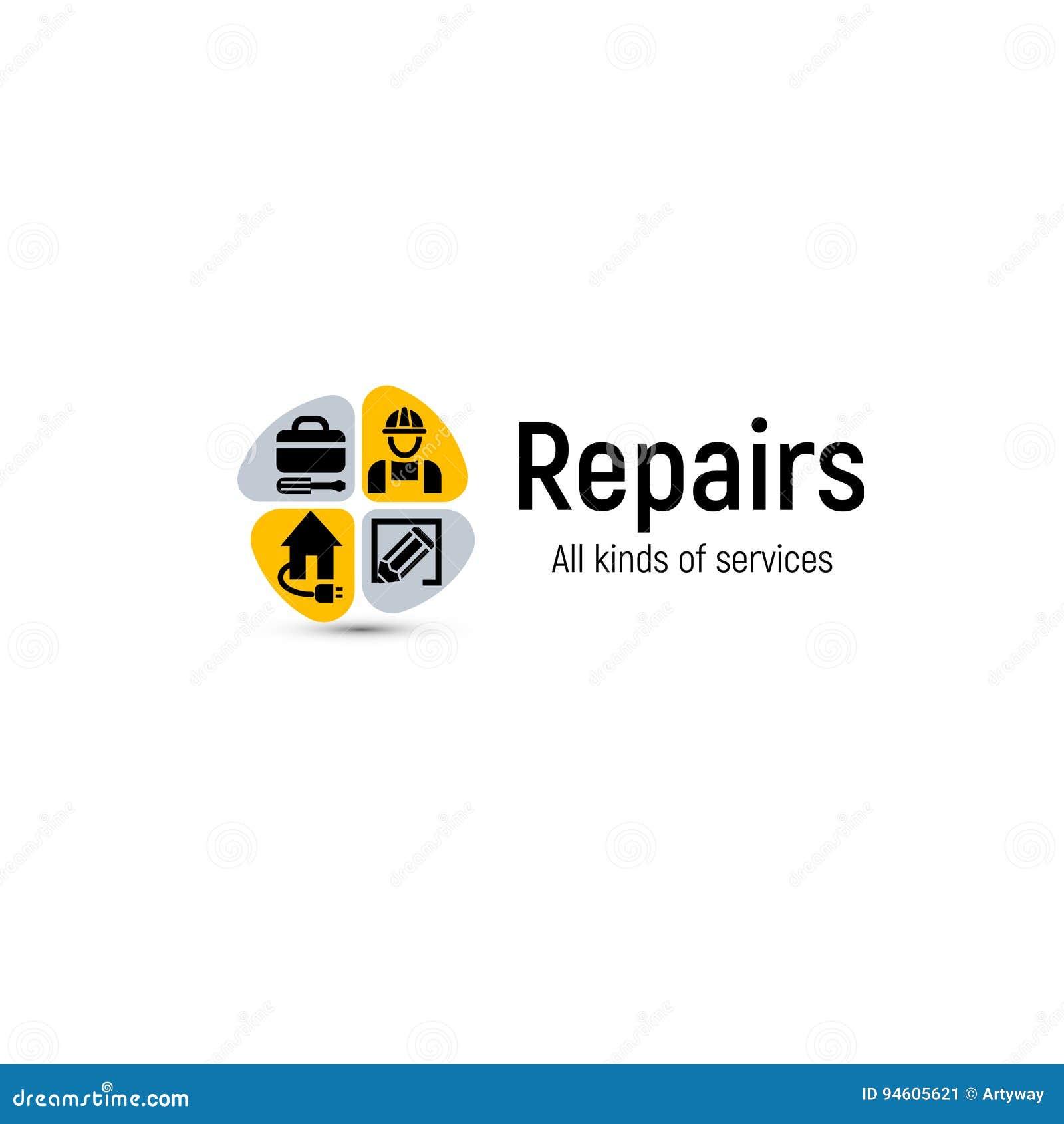 Domowa naprawa wytłacza wzory wektorowego loga Domowa odświeżanie usługa ikona Budynku fachowy poparcie i ulepszenie abstrakt 2d