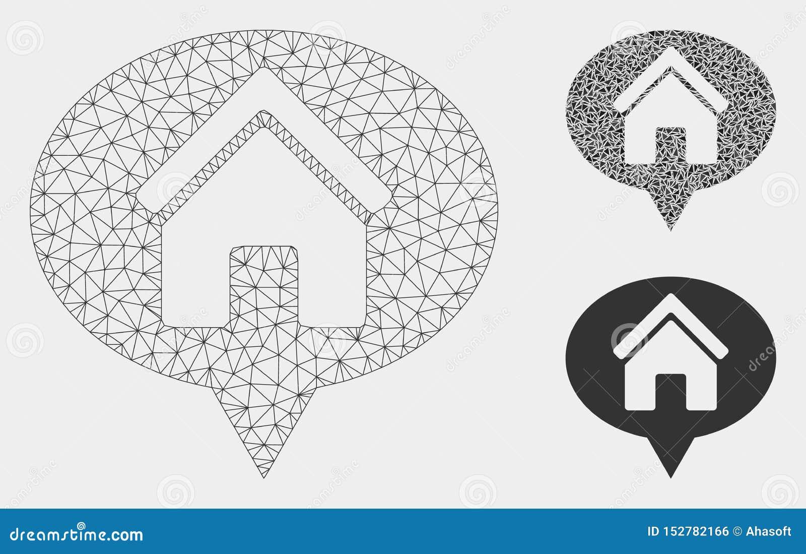 Domowego informacja balonu siatki ścierwa trójboka i modela mozaiki Wektorowa ikona