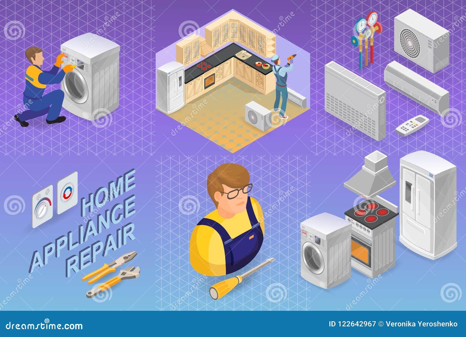 Domowego urządzenia naprawa Isometric pojęcie Pracownik, wyposażenie