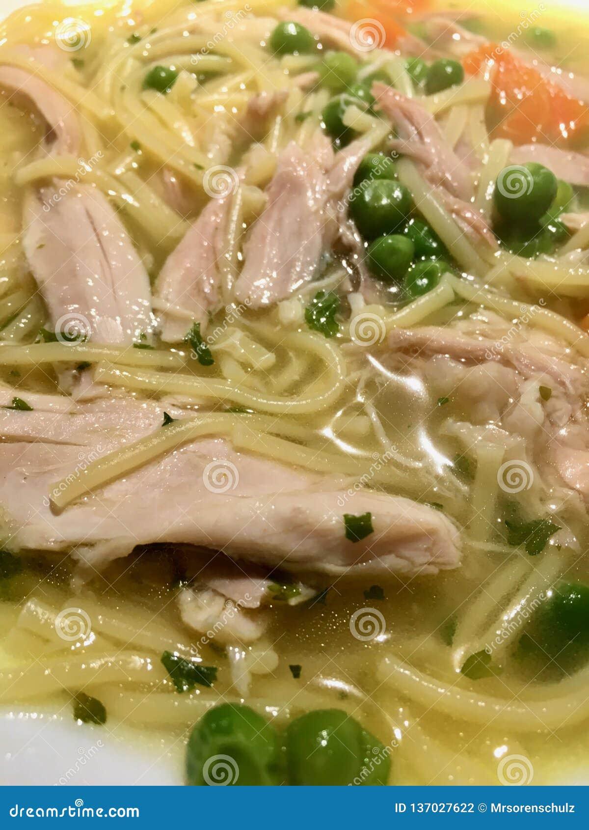 Domowej roboty kurczak polewka z kluskami i warzywami - szczegół/w górę