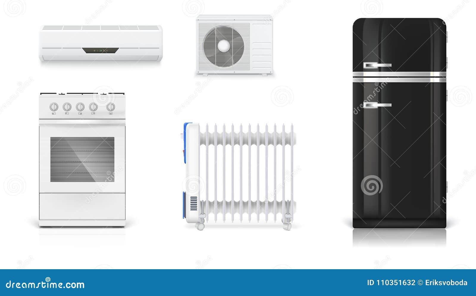 Domowi elektryczni urządzenia Lotniczy uwarunkowywać, elektryczny nafciany grzejnik, chłodziarka z retro projektem, benzynowa kuc