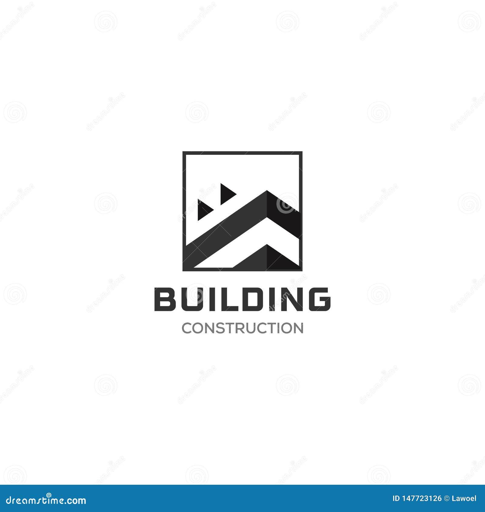 Domowy Abstrakcjonistyczny Real Estate wsi loga projekta szablon dla firmy Budynek Wektorowa sylwetka, kwadratowy logo