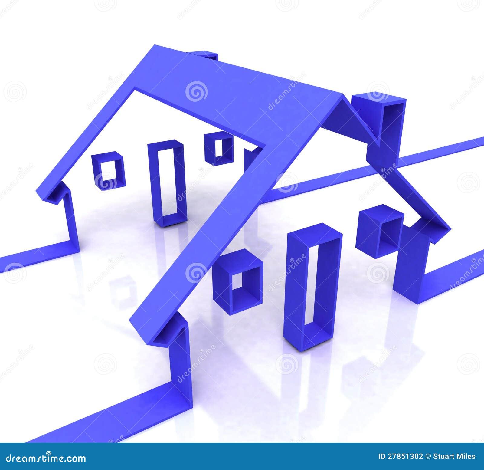 Domowy błękit Symbol Pokazywać Nieruchomość Lub Wynajem