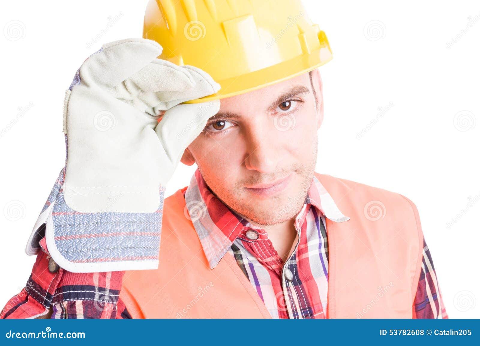 Domowy budowniczy geeting dotykać jego hełm