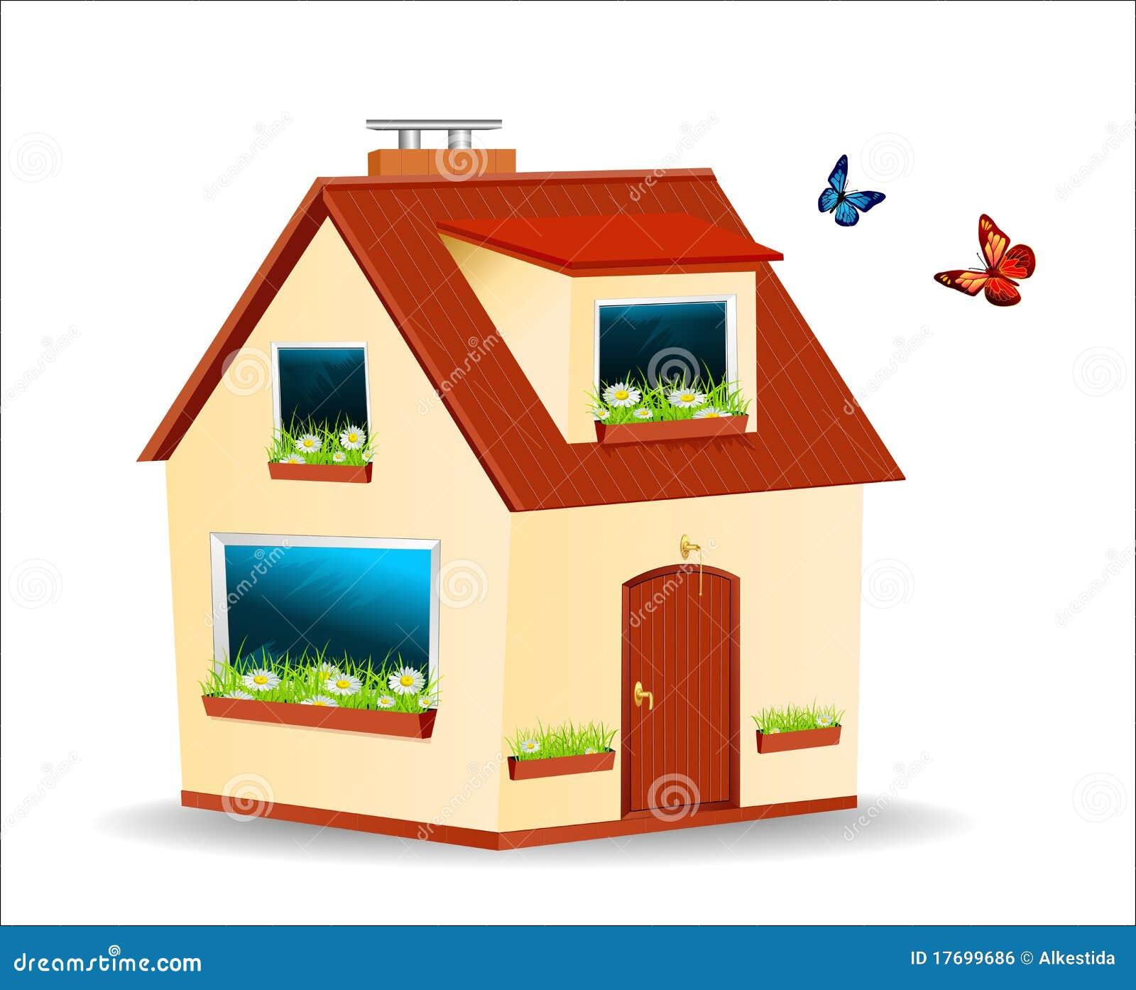 Domowy czerwieni dachu wektor izoluje kolor żółty