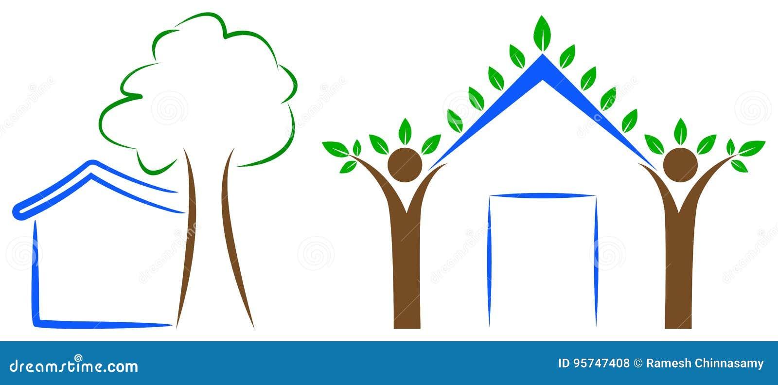 Domowy drzewny logo