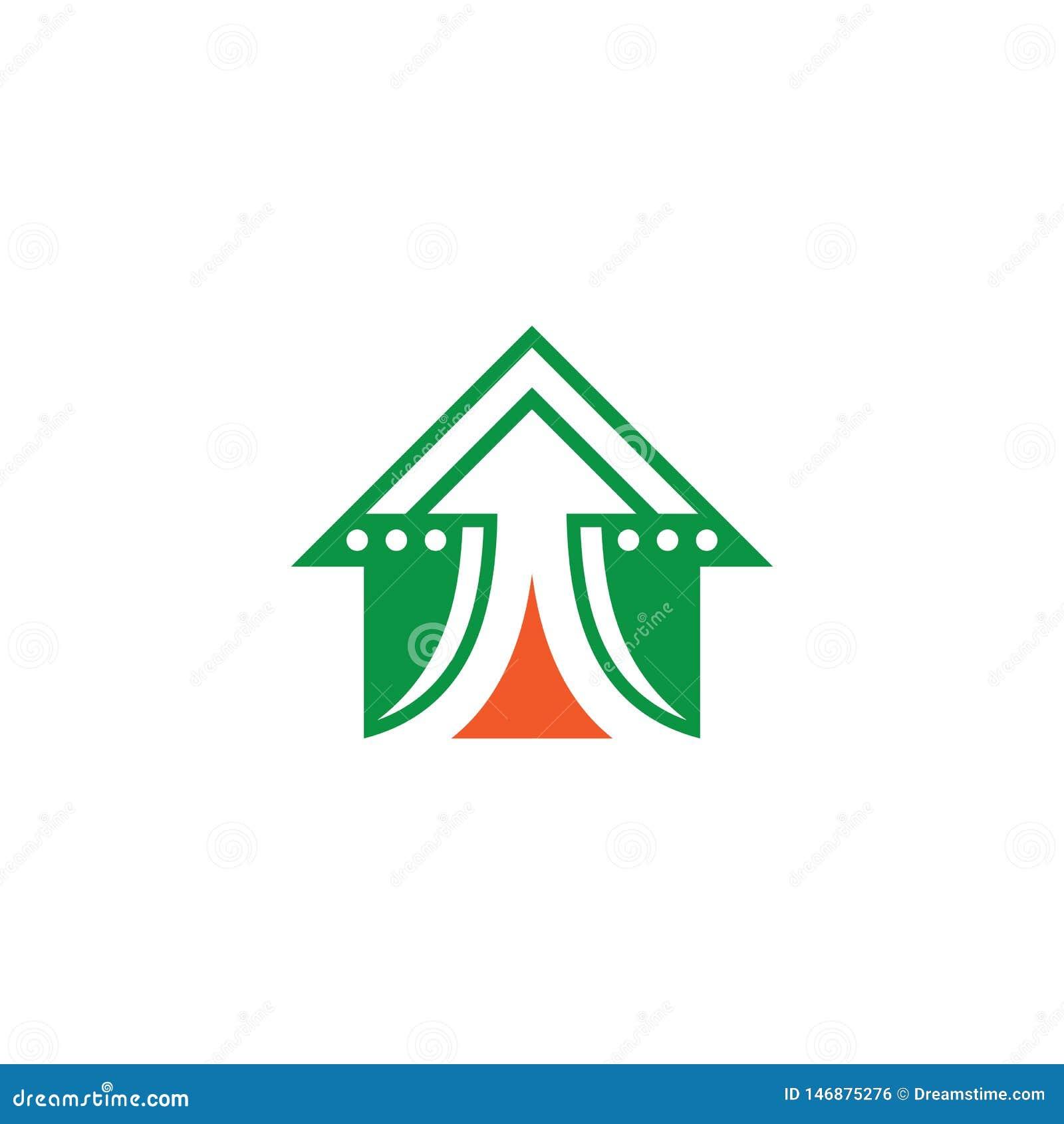 Domowy strzałkowaty biznesu finanse logo
