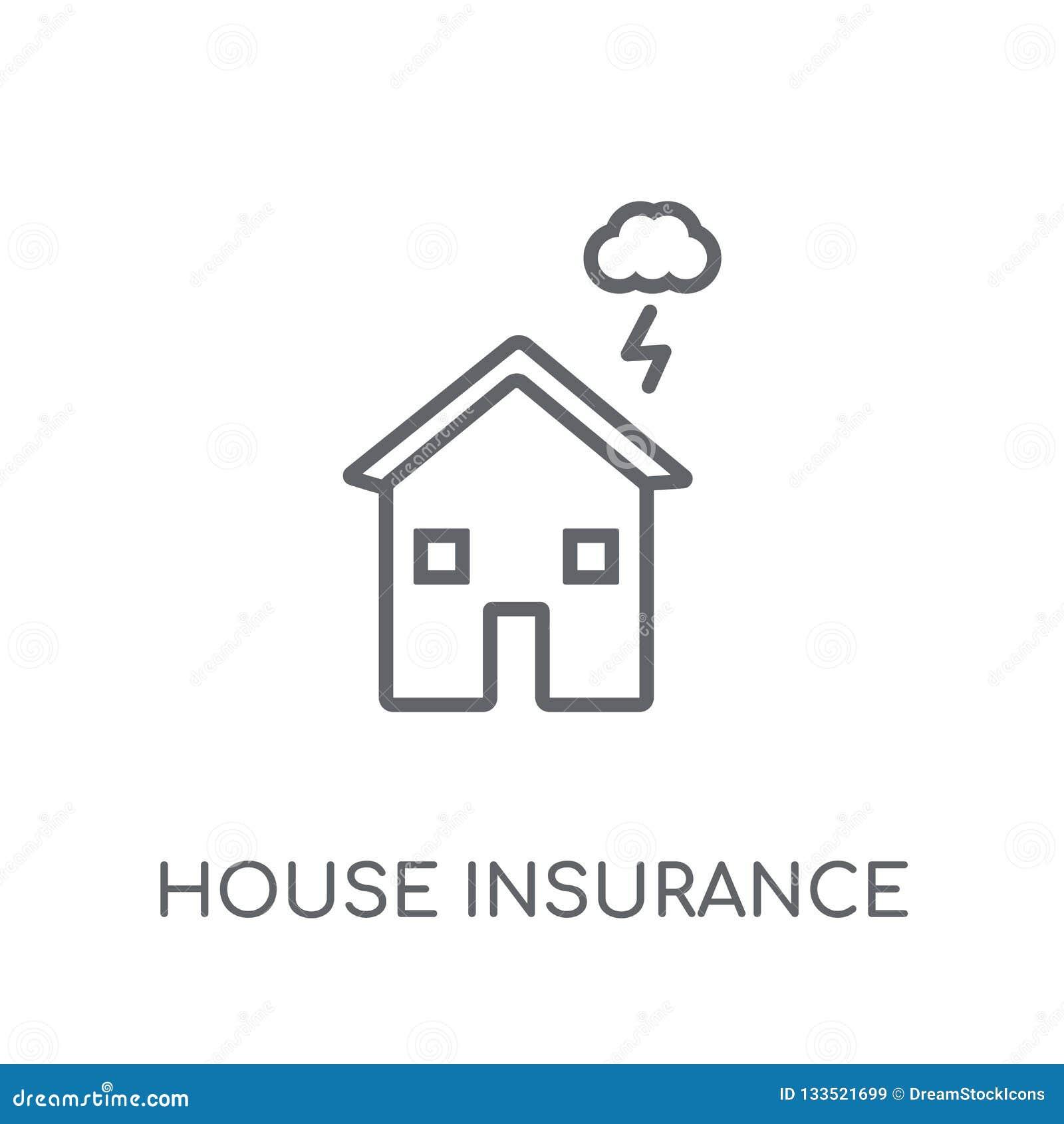 Domowy ubezpieczenie dla burzy liniowej ikony Nowożytny konturu domu ins