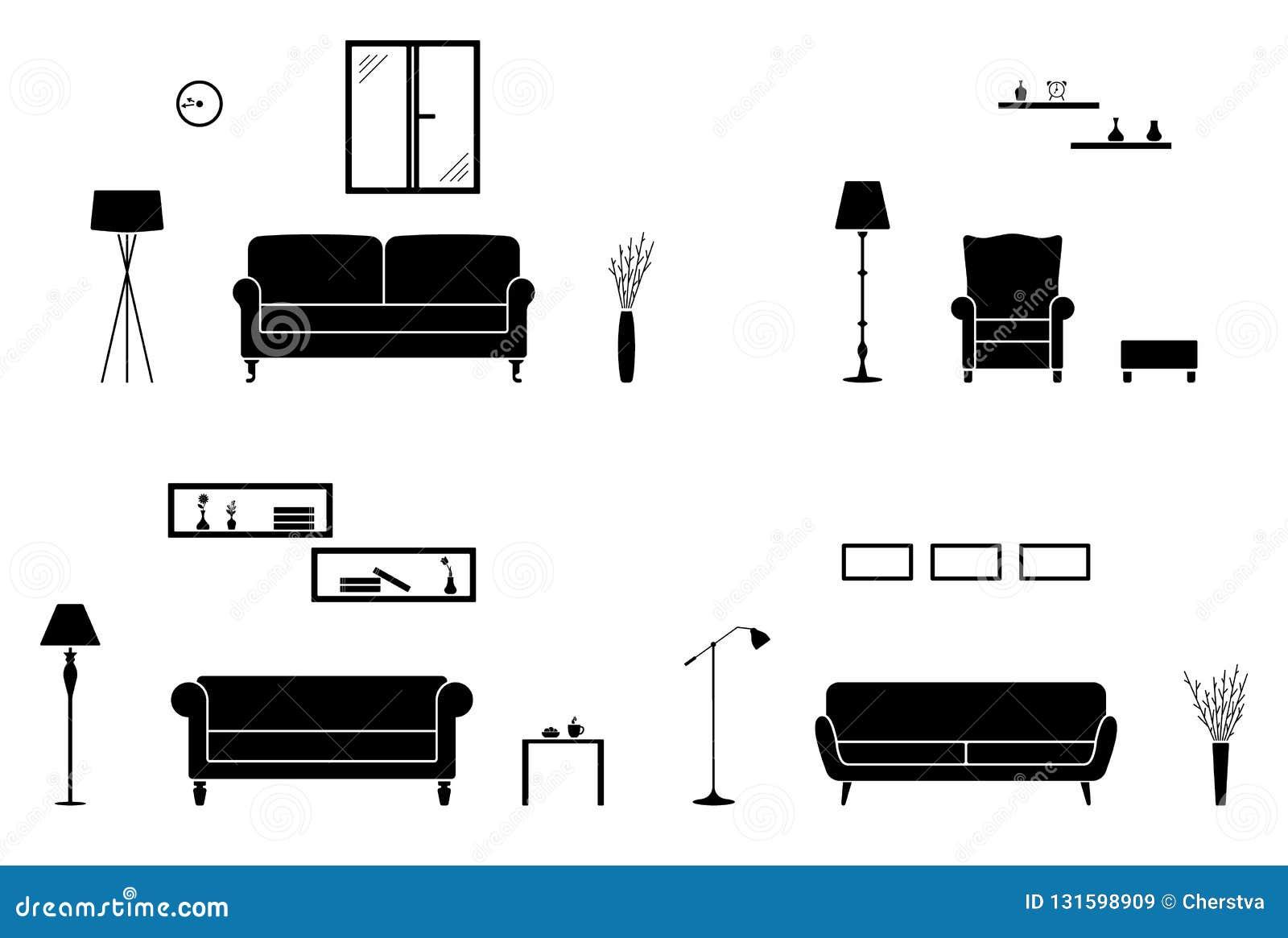 Domowy wewnętrzny ikona set Czarny i biały żywa izbowa sylwetka