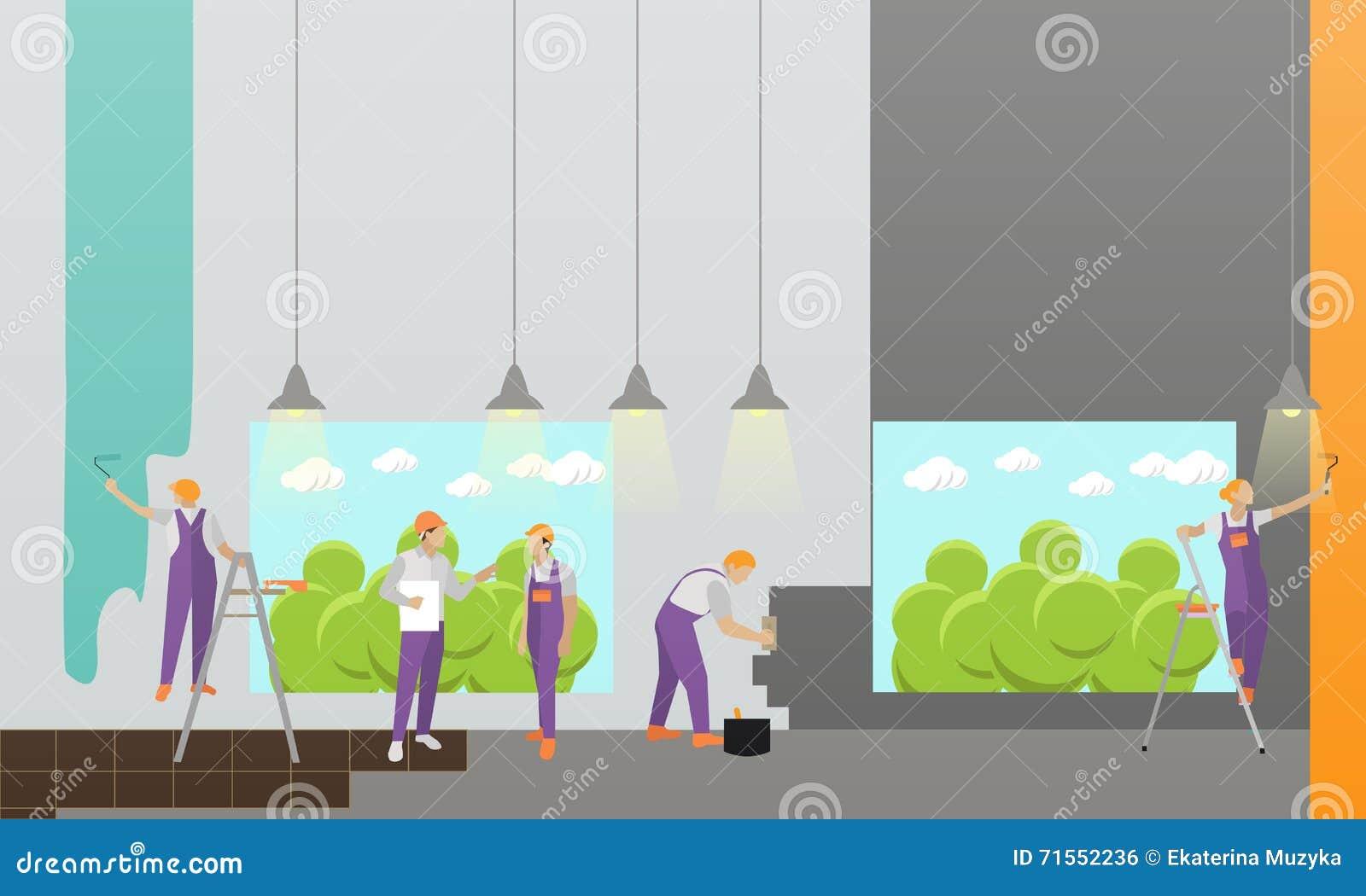 Domowy wnętrza i pokoju remontowy wektorowy sztandar Pracownicy robią odświeżaniu w mieszkaniu Budować w budowie