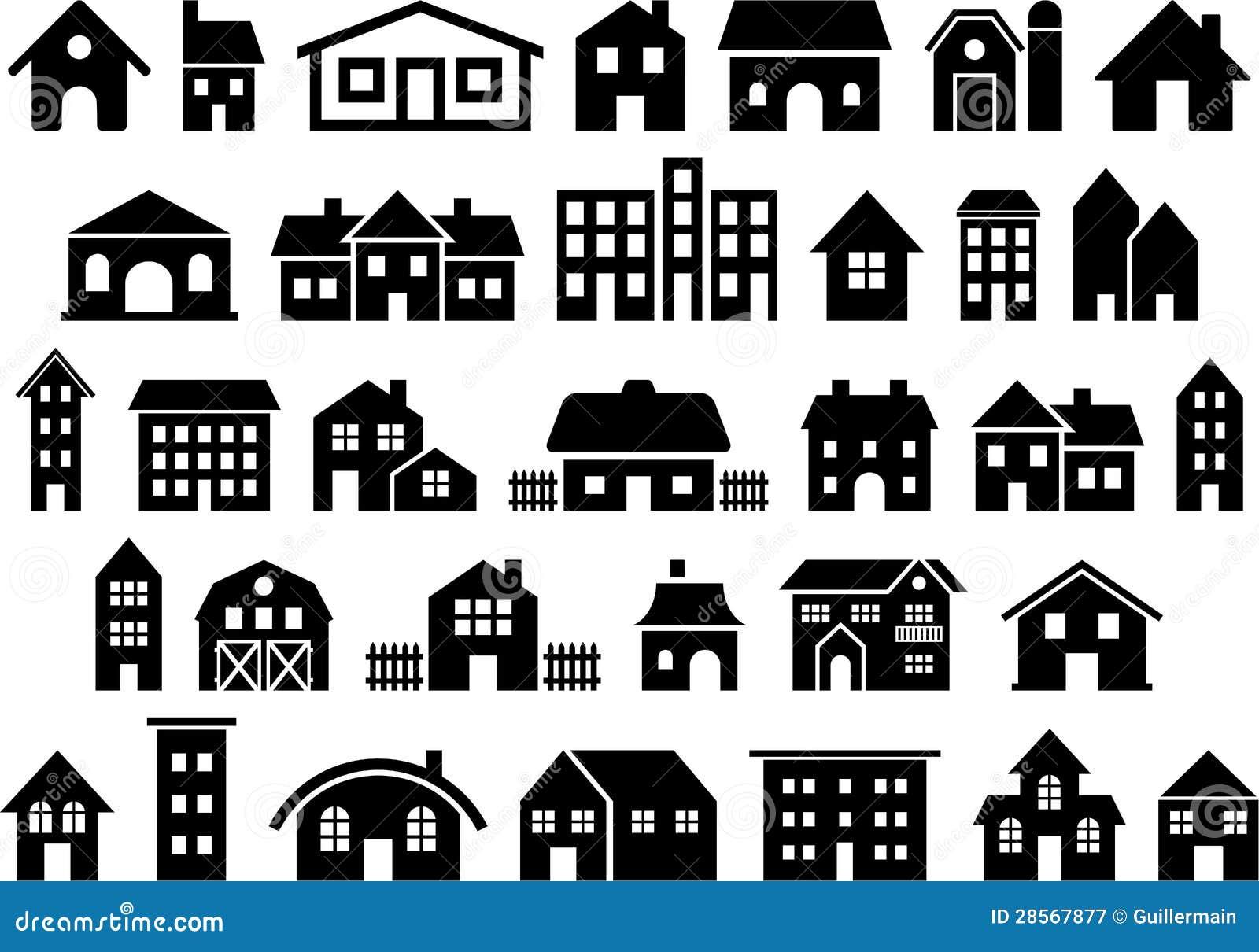Domu i budynku ikony
