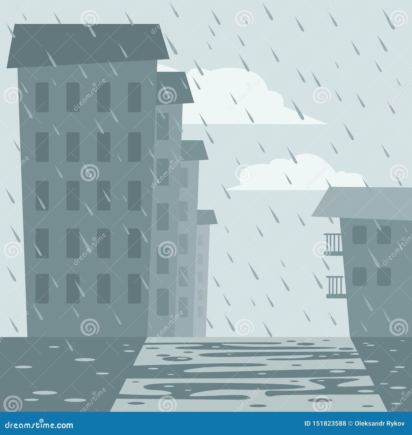 Domy i ulica w deszczu