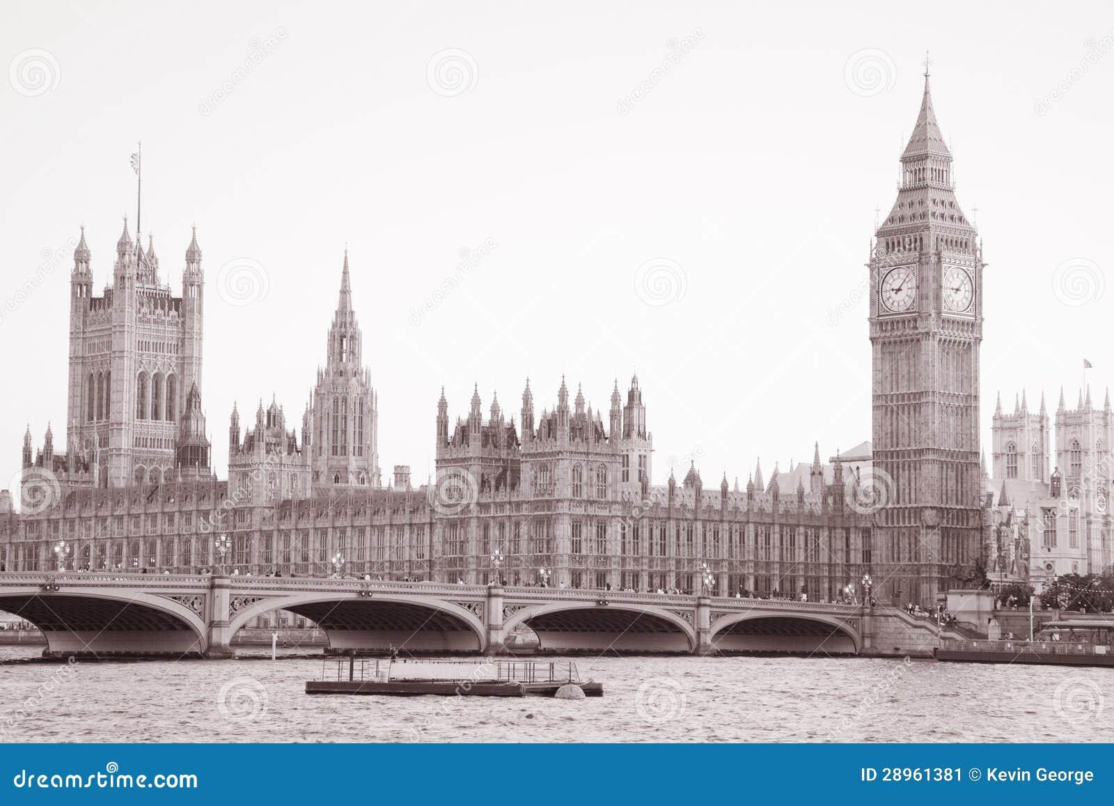 Domy parlament i big ben