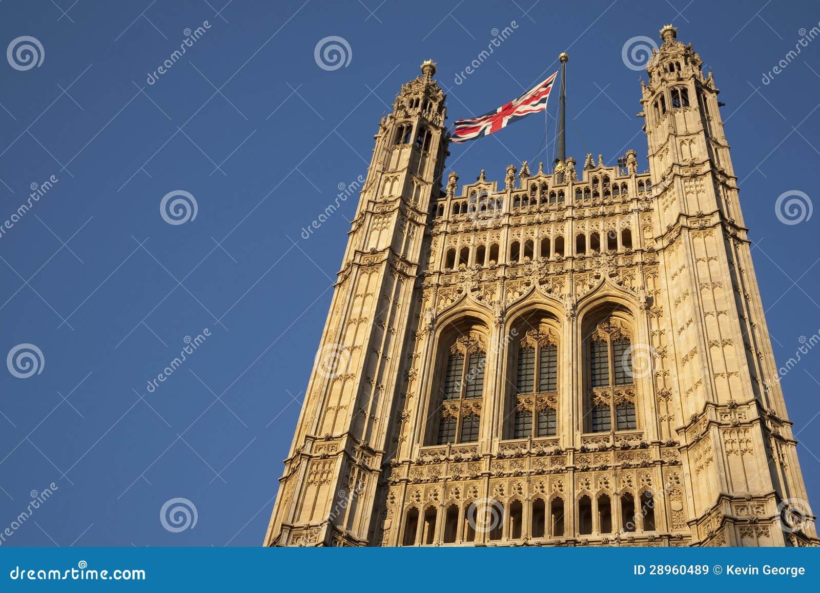 Domy parlament z Zrzeszeniowy Jack flaga, Londyn