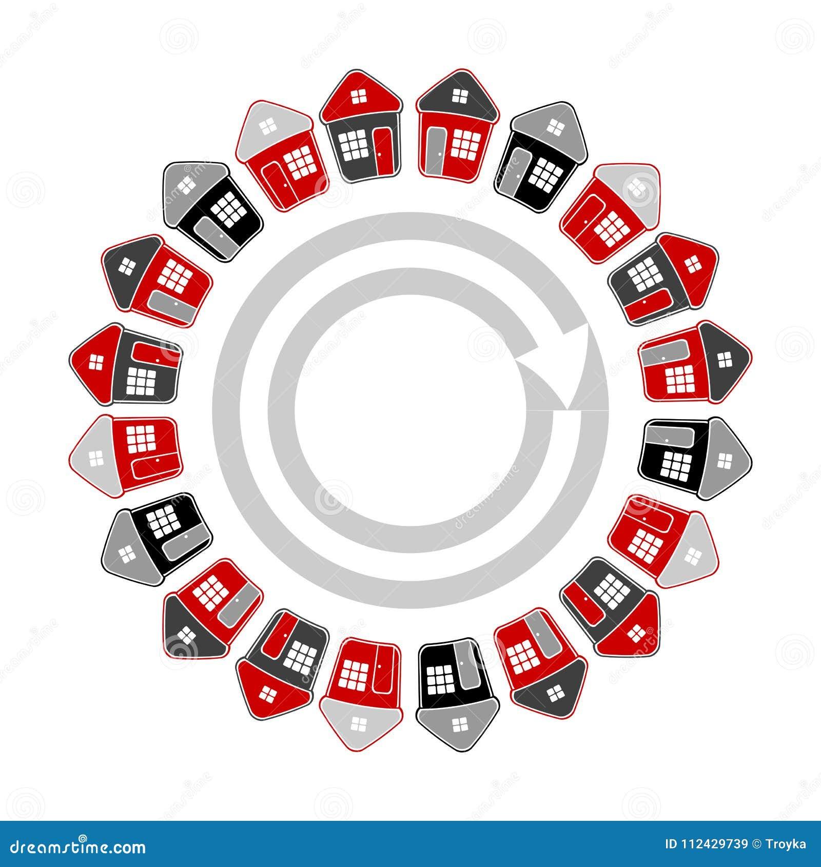 Domy w okręgu kształcie koncepcja real nieruchomości