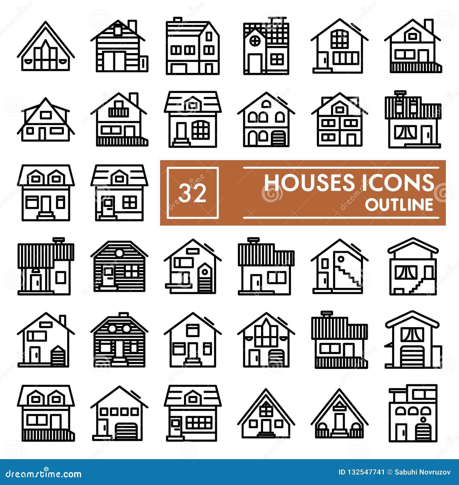 Domy wykładają ikona set, chałupa symbole kolekcja, wektorów nakreślenia, logo ilustracje, domów znaków liniowi piktogramy