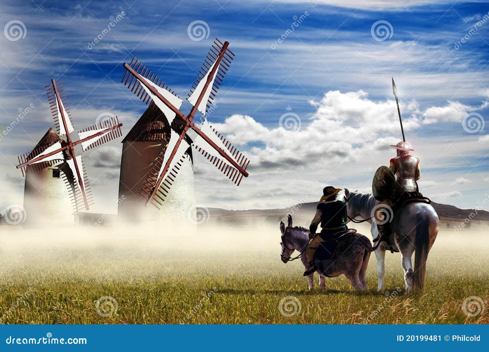 Don Quichote Und Sancho Panza Stockbild Bild Von Landschaft Esel