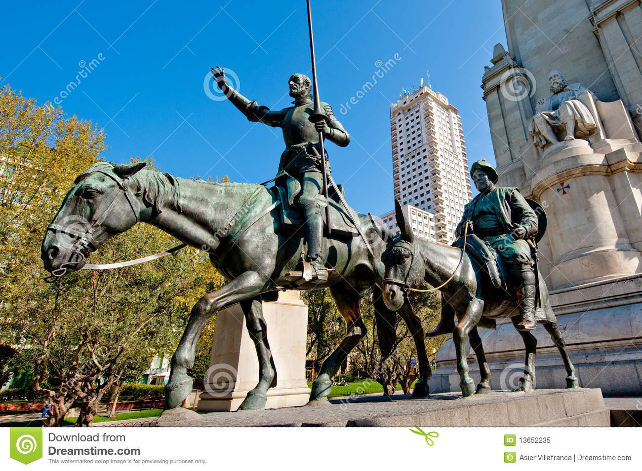 Statues of Don Quixote and Sancho Panza and their writer Cervantes, in