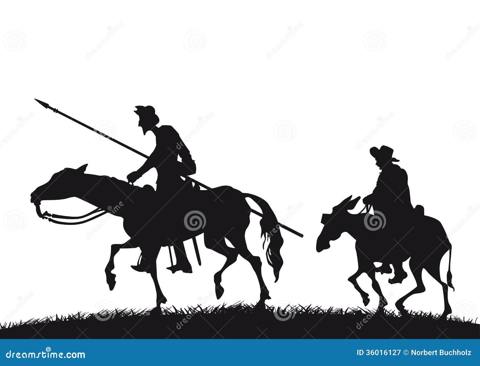 Don Quixote Und Sancho Panza Vektor Abbildung Illustration Von