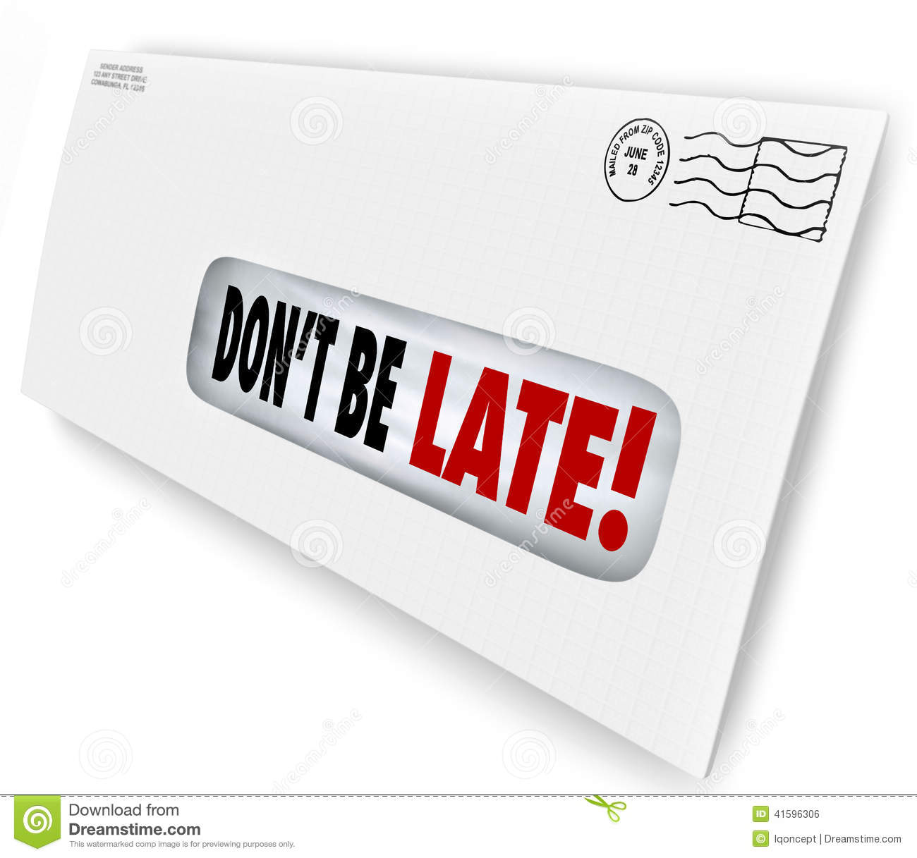 Don't Be Late Overdue Bill Warning Fee Penalty Envelope