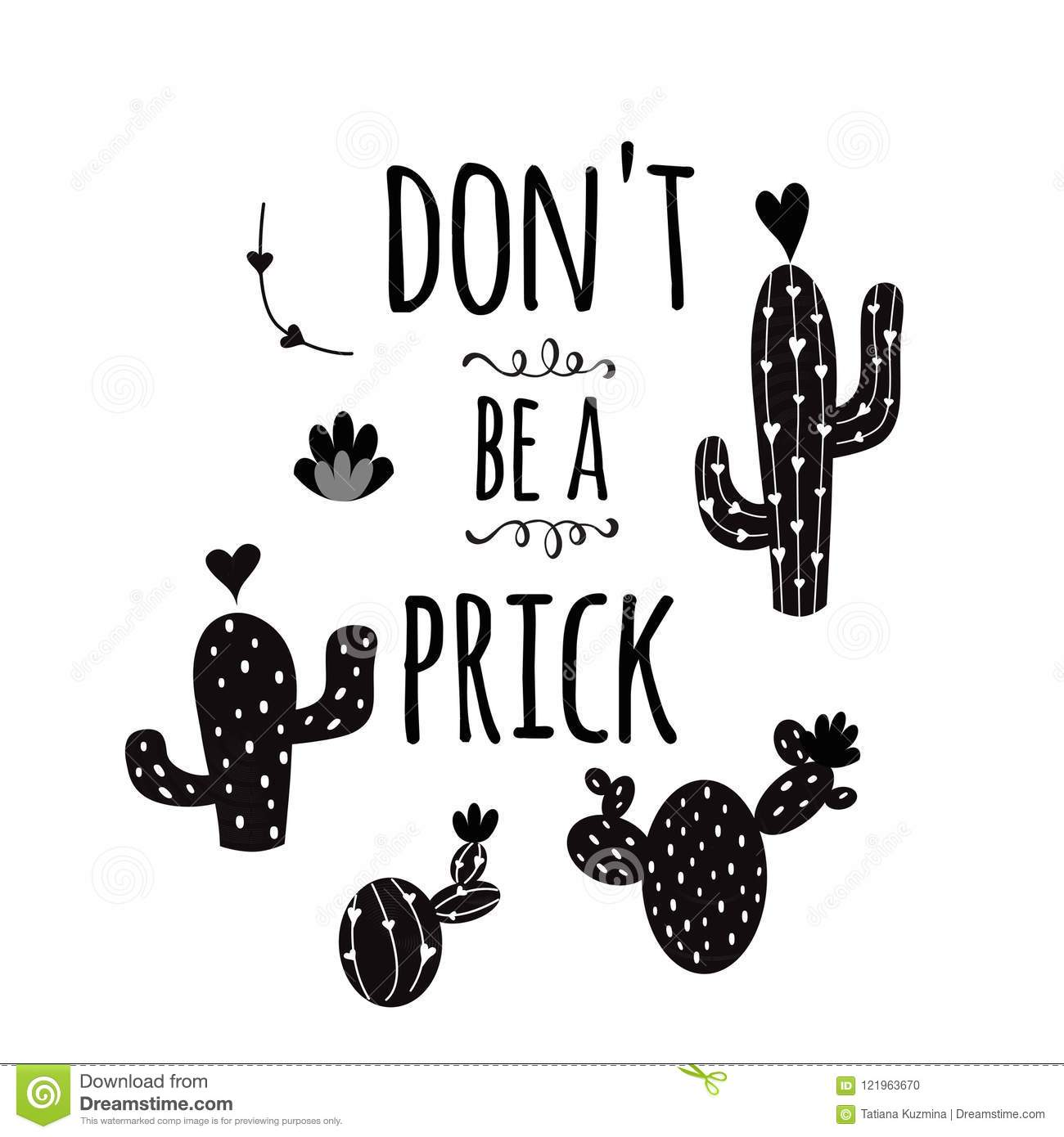 Funny Hand Drawn Prickly Cactus Print With Funny Quote Home Decor