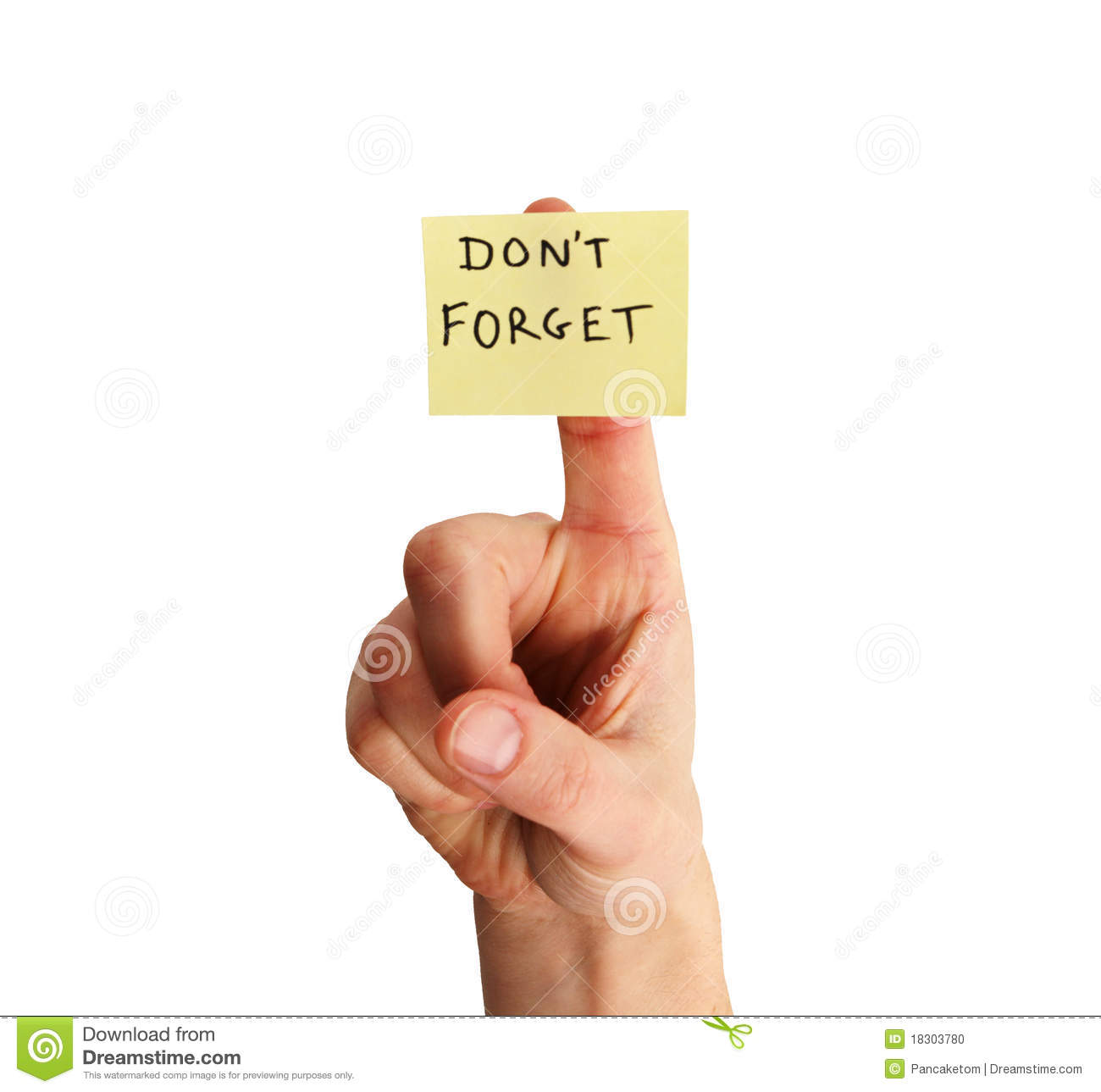 Don't Forget Note On Finger Stock Photo - Image: 18303780