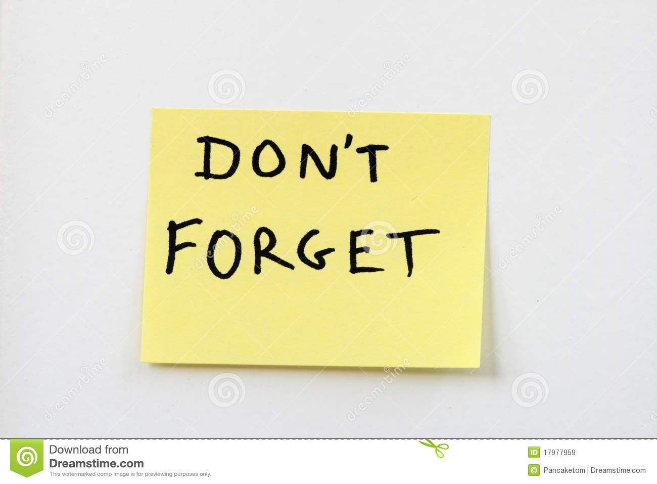 Don't Forget On Yellow Sticky Note Royalty Free Stock ...