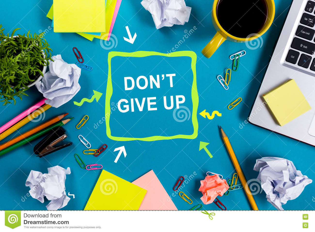 Dont give up office table desk with supplies white blank note pad download comp mightylinksfo