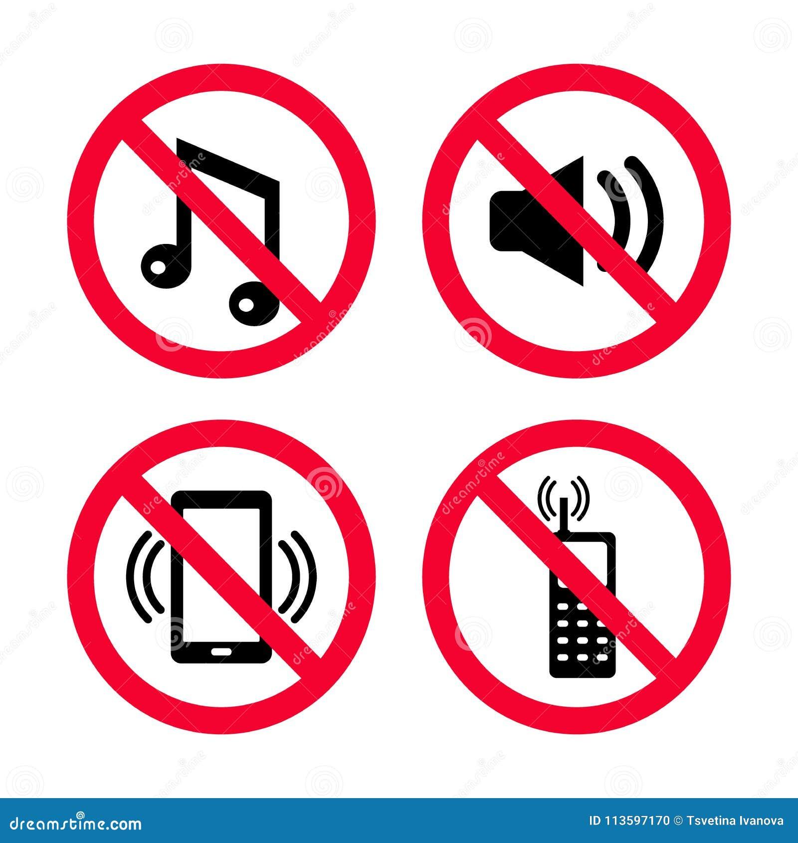 don t make noise no mobile phones no music no loud noises red