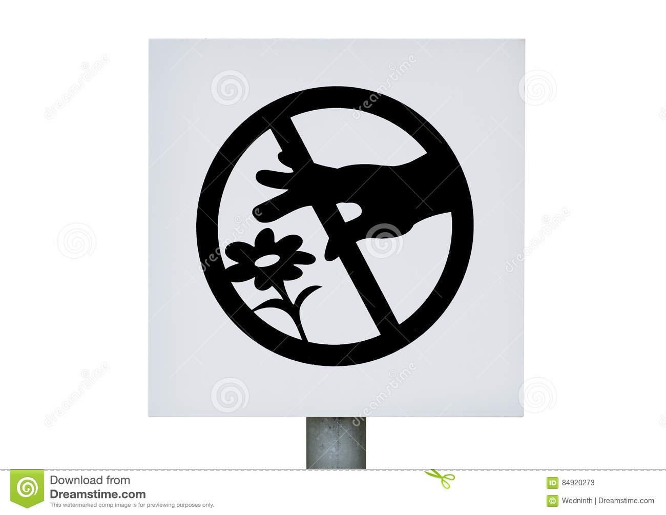 Don T Pick The Flowers Sign On White Background Photo Stock