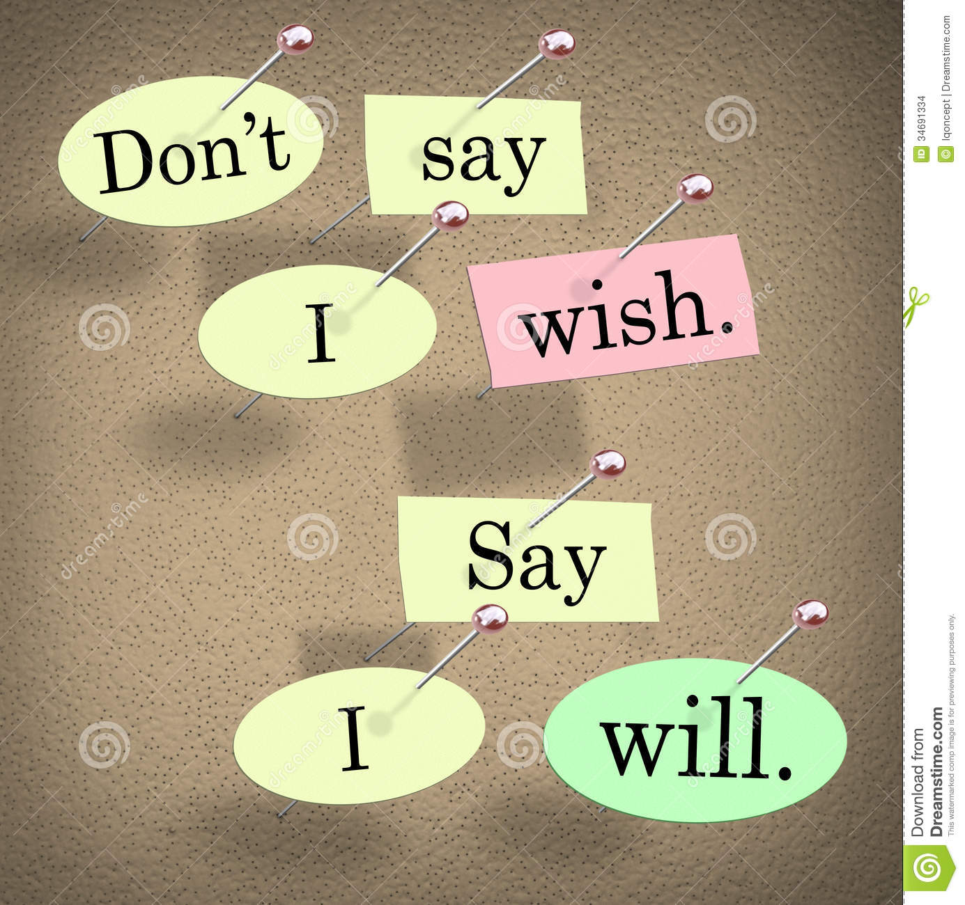 Wish You Success Quotes: Don't Say I Wish, Say I Will Saying Quote Bulletin Board
