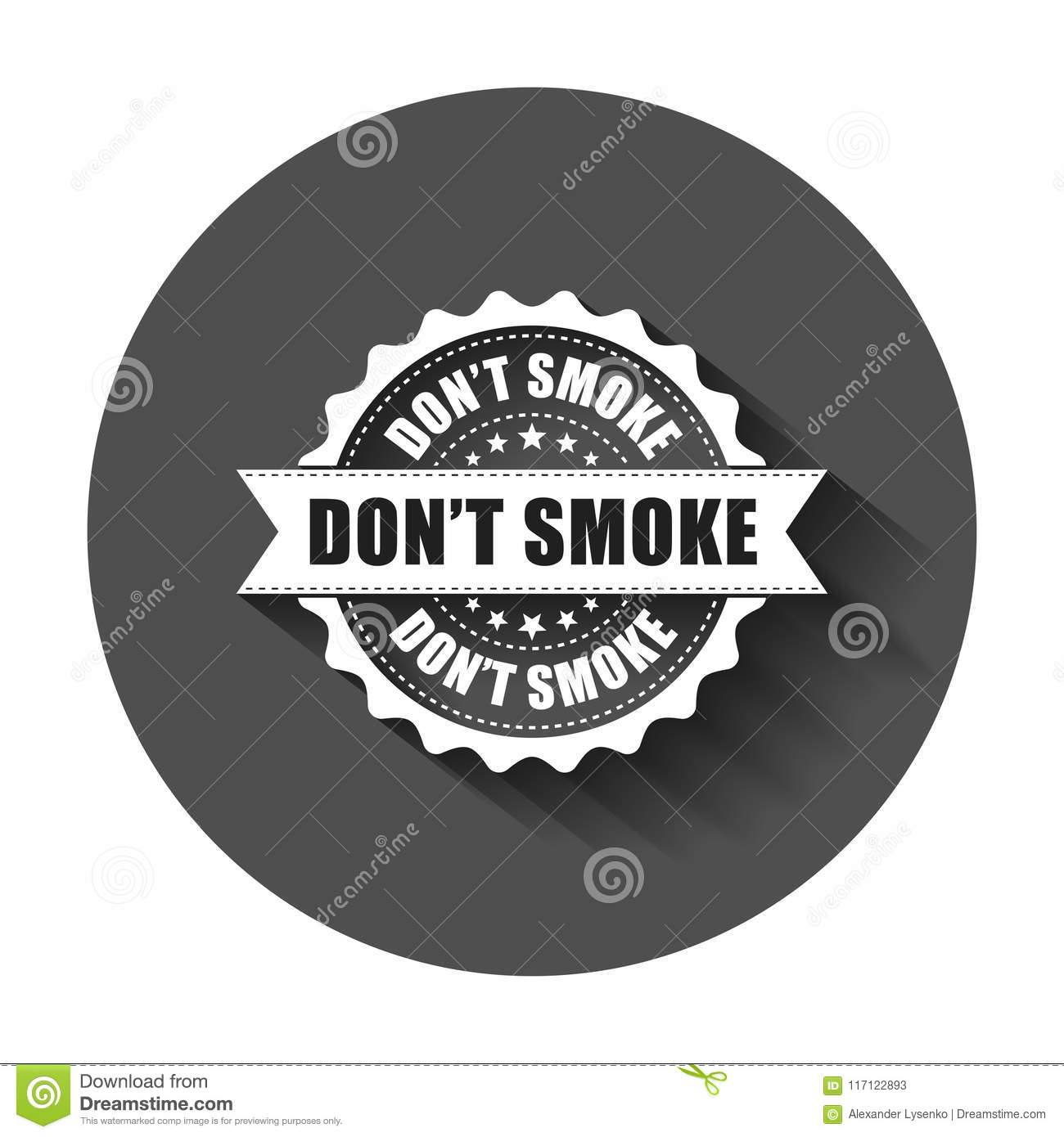 Don`t smoke grunge rubber stamp. Vector illustration with long s