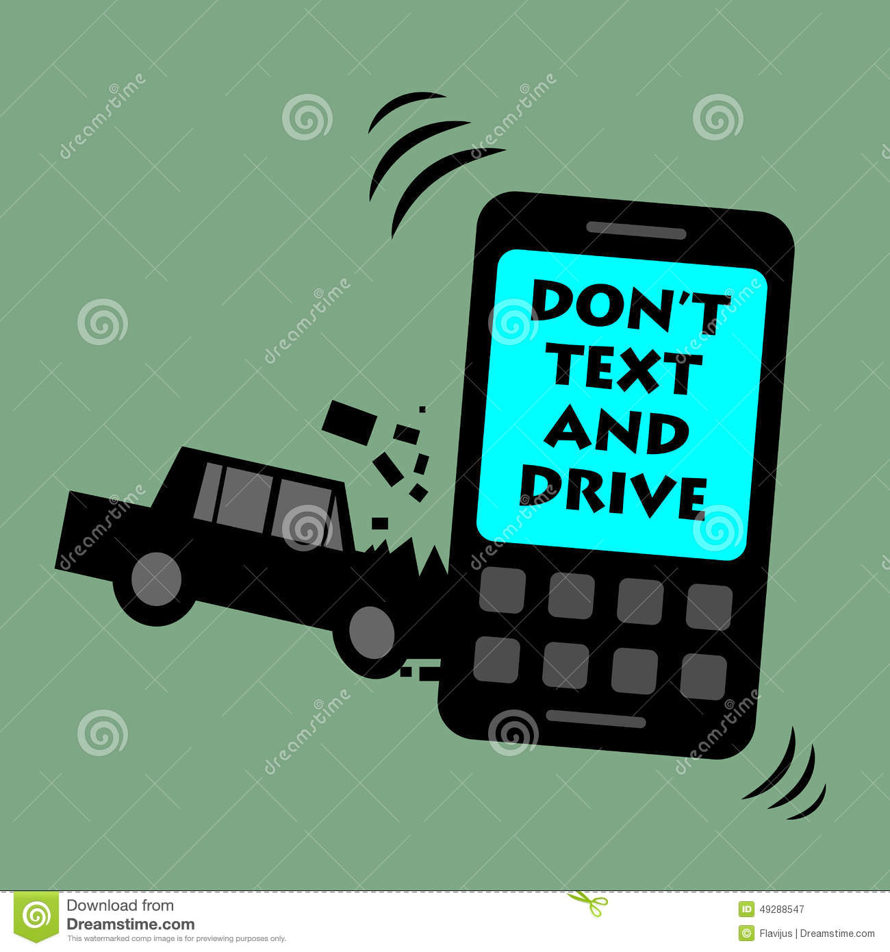 Don't Text And Drive Stock Vector - Image: 49288547