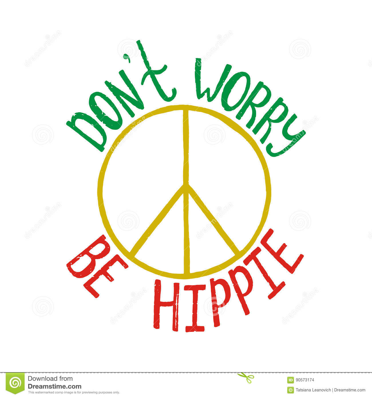 Don`t Worry, Be Hippie. Inspirational Quote About Peace ...