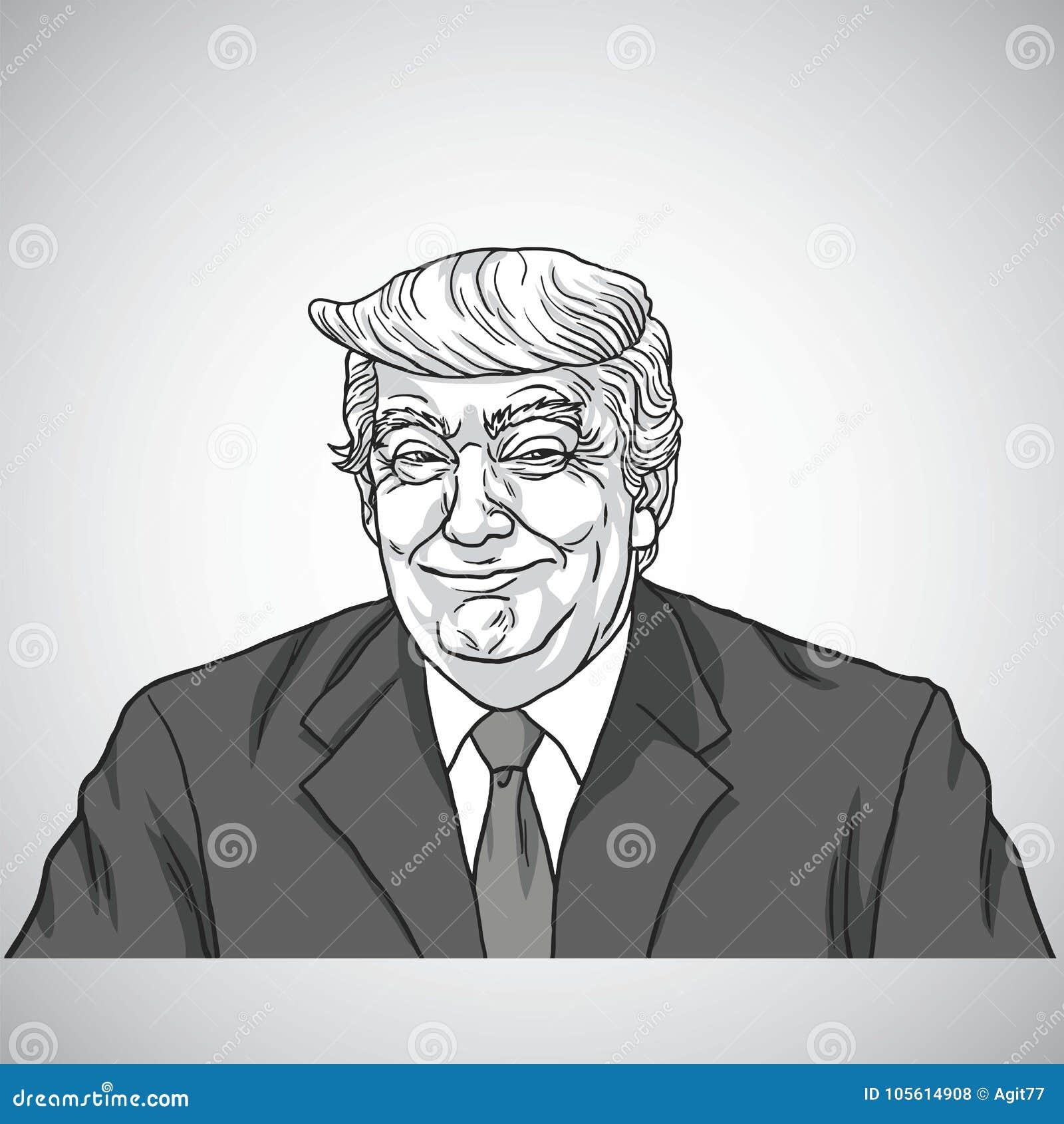 Donald Atutowego Uśmiechniętego Wektorowego portreta Rysunkowa ilustracja Grudzień 10, 2017