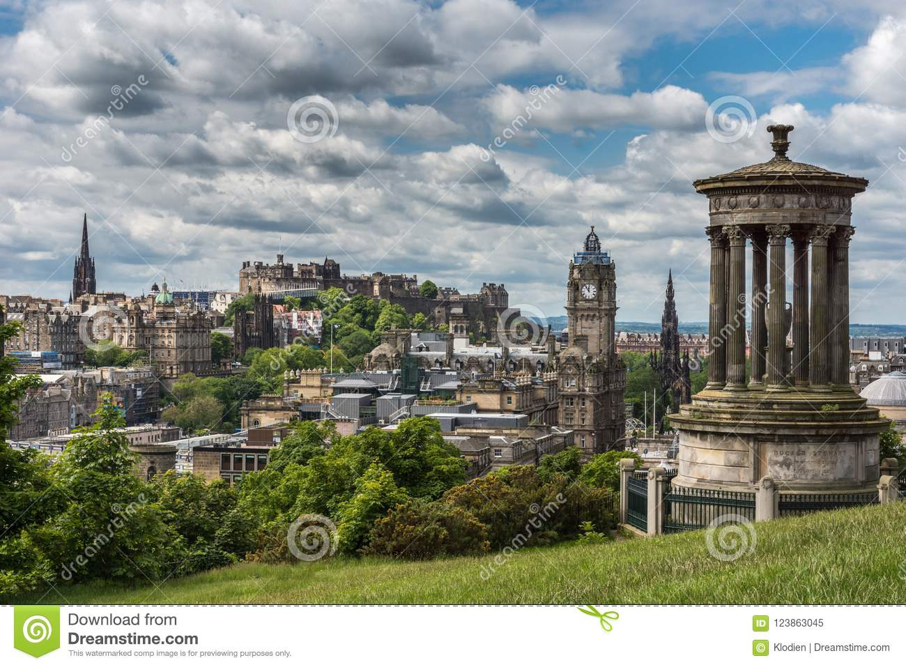 Donald Stewart Monument op Calton-Heuvel, Edinburgh, Schotland, het UK