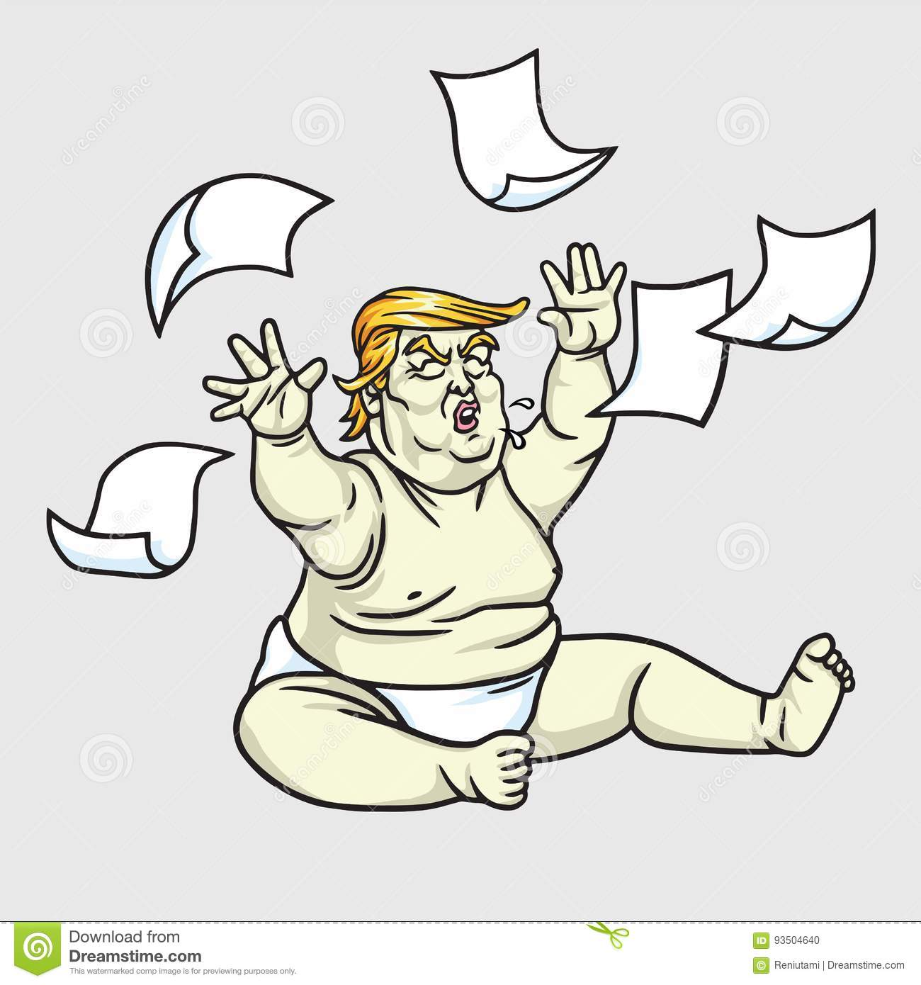 donald trump the big baby with messy papers. june 1, 2017 editorial
